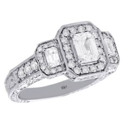 14K White Gold Emerald Solitaire Diamond 3 Stone Vintage Engagement Ring 2 CT.