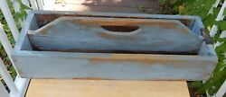 Antique Primitive Wooden Blue Painted Tote Caddy  Planter Tray Great for Plants