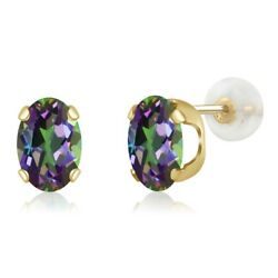 14K Yellow Gold 1.60 Ct Oval 7x5mm Green Mystic Topaz Stud Earrings