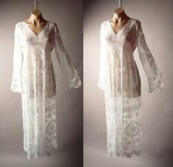 Victorian Boho Wedding Gown Maxi 265 mv Embroidered Sheer White Lace Dress S M L $34.98