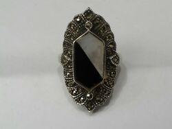 Vintage Sterling silver 925 Onyx Pearl & Marcacite Ring finger size 7