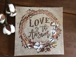 Rustic Chic Farmhouse Grungy Sign Canvas Cotton Wreath Primitive Wall Art $14.00