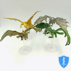 Large Dragons x4 Tyranny of Dragons Damp;D Miniature Bronze Shadow Green Copper $26.99