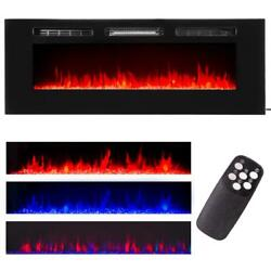 60quot; Contemporary Electric Fireplace Wall Mounted Heater Multicolor Flame Remote $289.95