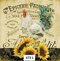 473 TWO Individual Paper Luncheon Decoupage Napkin ROOSTER SUNFLOWERS FRENCH $2.00
