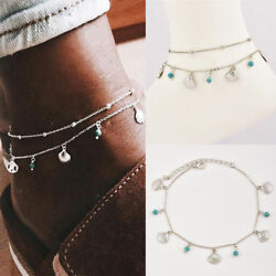 Turquoise Beads Shell Silver Chain Anklet Ankle Bracelet Foot Beach Feet Jewelry