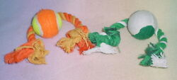 PET TOYS * PULL ROPE TENNIS BALL * 2 TYPES * SM MED ** NEW * $6.99