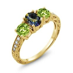 1.92 Ct Oval Blue Mystic Topaz Green Peridot 18K Yellow Gold Plated Silver Ring