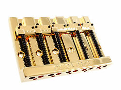 NEW Omega Badass Bass Style 5 String BRIDGE for Fender GROOVED SADDLES Gold $59.99