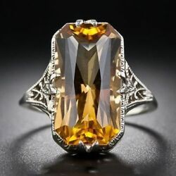 Solid Yellow Gold Natural Diamond & Ravishing Cushion Citrine Wedding Ring