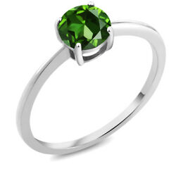 10K White Gold 1.50 Ct Round Green Zirconia Solitaire Engagement Ring