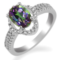 2.19 Ct Oval Green Mystic Topaz 925 Sterling Silver Ring