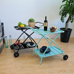 2 Tier Rolling Kitchen Cart Serving Side Table Multi-functional Storage Cart Bar