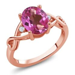 1.85 Ct Oval Pink Mystic Topaz White Topaz 18K Rose Gold Plated Silver Ring