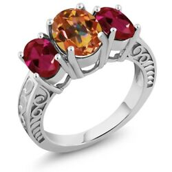 3.60 Ct Oval Ecstasy Mystic Topaz Red Created Ruby 925 Sterling Silver Ring