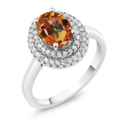2.50 Ct Oval Ecstasy Mystic Topaz 925 Sterling Silver Ring
