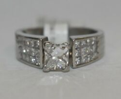 (MA2) Diamond Solitaire w Accents 1.86 TCW 11.4g PT950 Platinum Ring Size 6