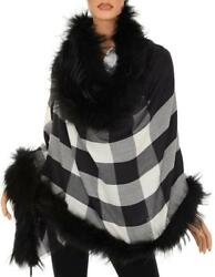 NEW BURBERRY WOOL CASHMERE CHECK PRINT RACCOON FUR TRIM OVERSIZED SCARF WRAP