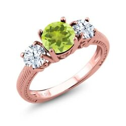 2.70 Ct Round Yellow Lemon Quartz 18K Rose Gold Plated Silver Ring