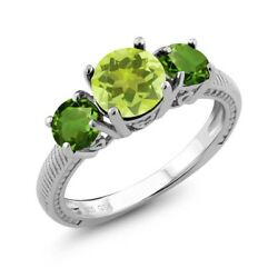 2.20 Ct Round Yellow Lemon Quartz Green Chrome Diopside 925 Sterling Silver Ring