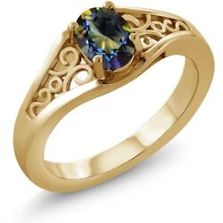 0.95 Ct Oval Blue Mystic Topaz 925 Yellow Gold Plated Silver Ring