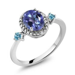 Oval Blue Mystic Topaz and Simulated Topaz 925 Silver Ring With Accent Diamond