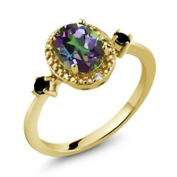 Oval Green Mystic Topaz 18K Yellow Gold Plated Silver Ring With Accent Diamond
