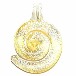 P2631 Yellow with Silver Foil Swirl 43mm Lampwork Glass Drop Pendant 1pc $8.05