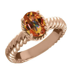 2.30 Ct Oval Ecstasy Mystic Topaz 925 Rose Gold Plated Silver Ring