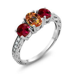 3.12 Ct Oval Ecstasy Mystic Topaz Red Created Ruby 925 Sterling Silver Ring