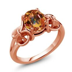 1.80 Ct Oval Ecstasy Mystic Topaz 18K Rose Gold Plated Silver Ring