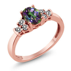 0.75 Ct Oval Green Mystic Topaz White Diamond 925 Rose Gold Plated Silver Ring