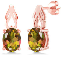 3.60 Ct Oval Mango Mystic Topaz 18K Rose Gold Plated Silver Earrings