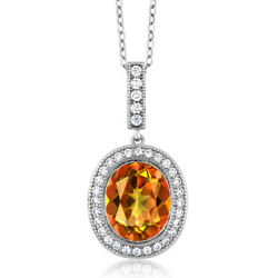 Sweet Mango Mystic Topaz 4.5 ct  925 Sterling Silver Pendant with Chain 18
