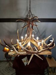 Extra Large Real Elk Antler Chandelier Rustic Pine Log Home Cabin Lighting