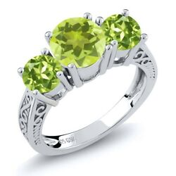 2.20 Ct Round Yellow Lemon Quartz Green Peridot 925 Sterling Silver 3-Stone Ring