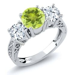 2.70 Ct Round Yellow Lemon Quartz 925 Sterling Silver 3-Stone Ring