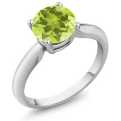 1.20 Ct Round Yellow Lemon Quartz 925 Sterling Silver Ring