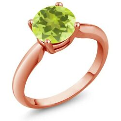 1.20 Ct Round Yellow Lemon Quartz 18K Rose Gold Plated Silver Ring