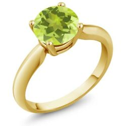 1.20 Ct Round Yellow Lemon Quartz 18K Yellow Gold Plated Silver Ring