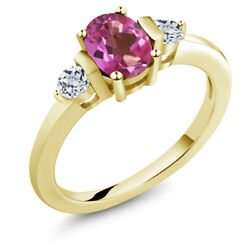 1.08 Ct Oval Pink Mystic Topaz White Topaz 18K Yellow Gold Plated Silver Ring