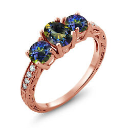 2.02 Ct Oval Blue Mystic Topaz 18K Rose Gold Plated Silver Ring