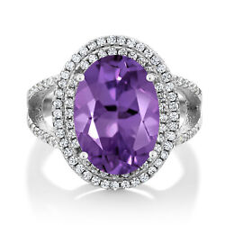 7.14 Ct Oval Purple Amethyst 925 Sterling Silver Women's Ring