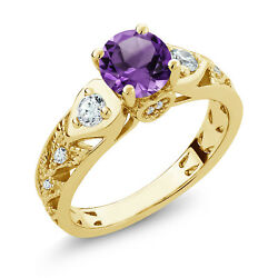 1.96 Ct Round Purple Amethyst 18K Yellow Gold Plated Silver Ring