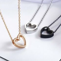 Women Hollow Heart Charm Necklace Pendant Chain Gold Silver Black Jewelry Gift $1.35