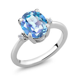 2.52 Ct Stunning Oval Millennium Blue Mystic Topaz 925 Sterling Silver Ring