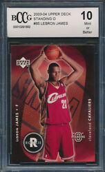 2003-04 Upper Deck Standing O #85 LeBron James Rookie Card Graded BCCG 10
