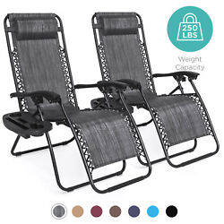 BCP Set of 2 Adjustable Zero Gravity Patio Chair Recliners w Cup Holders