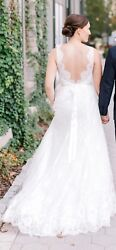 Wtoo Ilona Ivory Size 6 Lace Wedding Dress Good Condition with Veil $475.00