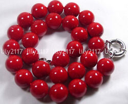 Natural 81012mm Coral Red Color South Sea Shell Pearl Round Gems Necklace 18